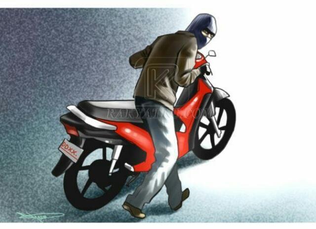 ilustrasi pencuri motor